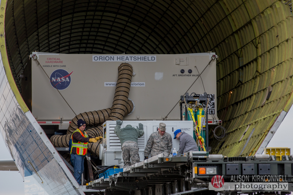 Orion's heat shield being loaded onto the Super Guppy