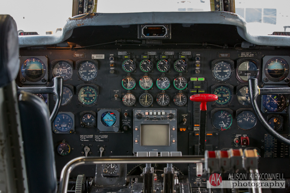 The Super Guppy flight deck has many controls from the 1950's