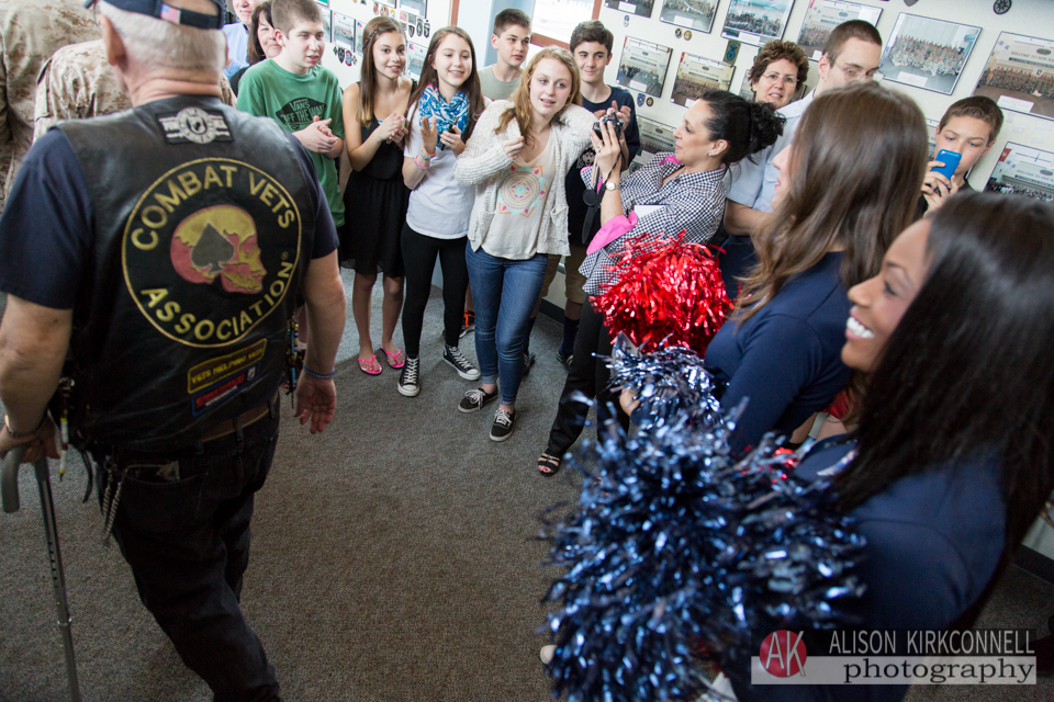 Patriots' cheerleaders concluded the soldiers' entrance
